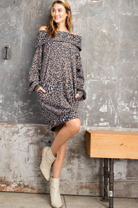 Easel Mushroom Animal Print Cowl Dress
