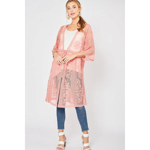 Dusty Rose Long Lace Kimono - June Adel