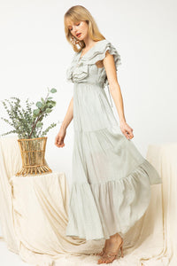 Gauze Tiered Maxi Dress in Sage by Entro - June Adel