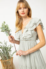 Load image into Gallery viewer, Gauze Tiered Maxi Dress in Sage by Entro - June Adel