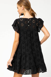 Black Eyelet Lace Tiered Dress - June Adel