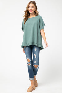 Entro Forest Linen Blend Top with Frayed Trim - June Adel