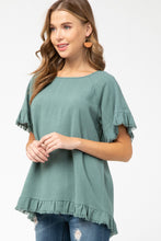 Load image into Gallery viewer, Entro Forest Linen Blend Top with Frayed Trim - June Adel