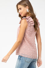 Load image into Gallery viewer, Sleeveless Top with Ruffled Shoulders in Blush - June Adel