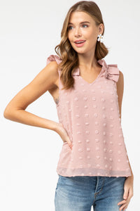 Sleeveless Top with Ruffled Shoulders in Blush - June Adel