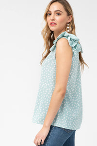 Animal Print Top with Ruffle Shoulder in Mint - June Adel