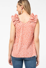 Load image into Gallery viewer, Animal Print Top with Ruffle Shoulder in Salmon - June Adel
