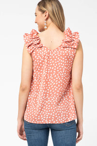 Animal Print Top with Ruffle Shoulder in Salmon - June Adel