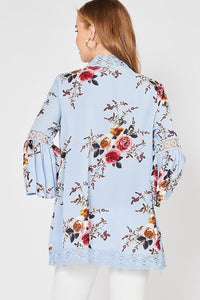 Light Blue Floral Print Kimono - June Adel