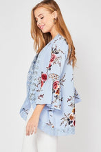 Load image into Gallery viewer, Light Blue Floral Print Kimono - June Adel