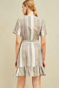 Striped Wrap Dress in Olive - June Adel