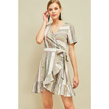 Load image into Gallery viewer, Striped Wrap Dress in Olive - June Adel