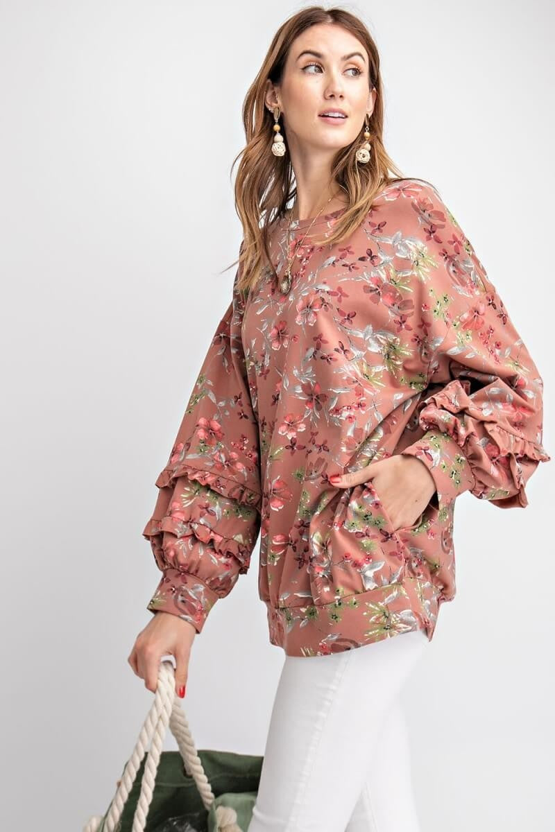 Terra Cotta Floral Print Top with Ruffled Sleeves - June Adel