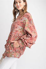 Load image into Gallery viewer, Terra Cotta Floral Print Top with Ruffled Sleeves - June Adel