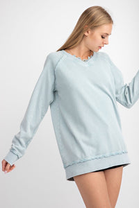 Dusty Blue Pullover Top with Lace Details - June Adel