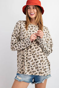 Easel Tan Leopard Print Top - June Adel