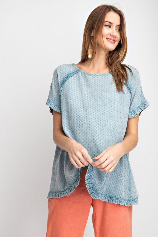 Easel Textured Washed and Ruffled Top in Faded Navy - June Adel