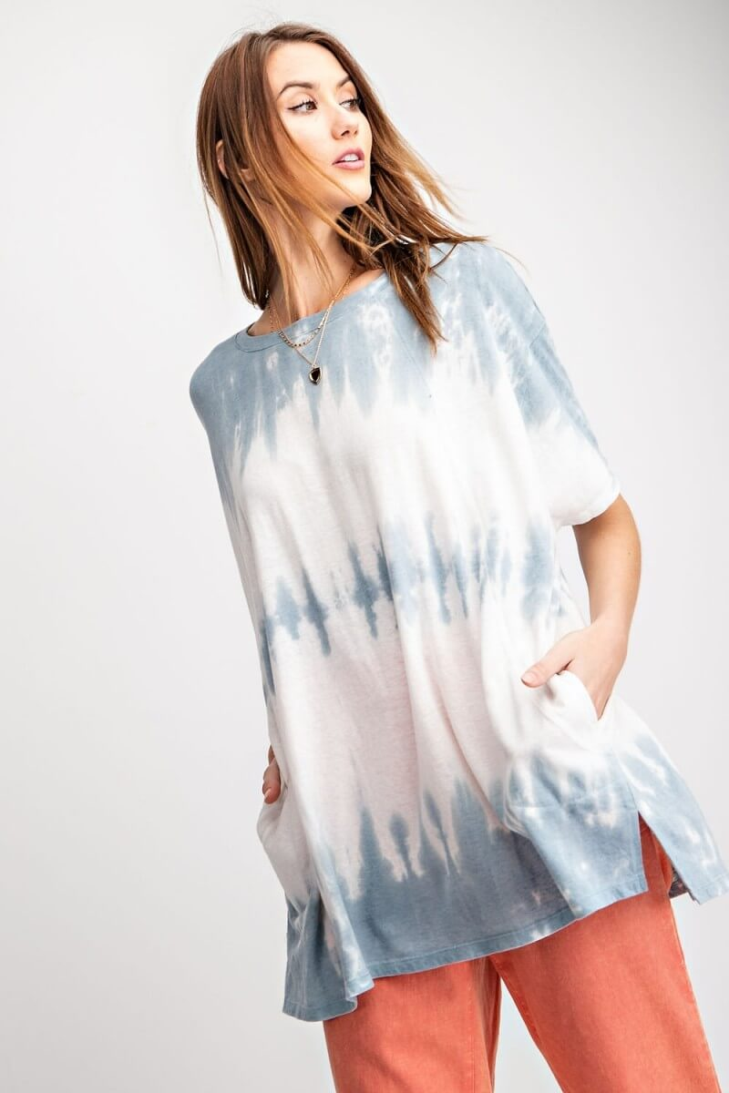 Wave Washed Top in Blue Gray - June Adel