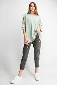 French Terry Loose Fit Top in Sage by Easel with Fringe Details on Sleeves - June Adel