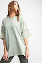 Load image into Gallery viewer, French Terry Loose Fit Top in Sage by Easel with Fringe Details on Sleeves - June Adel
