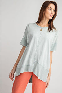 Easel Faded Sage Mineral Washed Top with Ribbed Trim - June Adel