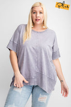 Load image into Gallery viewer, Easel Ash Violet Mineral Washed Top with Ribbed Trim - June Adel