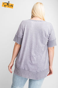 Easel Ash Violet Mineral Washed Top with Ribbed Trim - June Adel