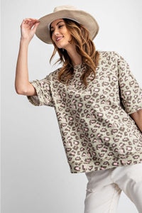 Easel Leopard Print Terry Top in Sage Gray - June Adel
