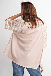 Light Mauve Top with Animal Print Accents by Easel - June Adel