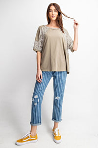 Sage Gray Top with Animal Print Accents by Easel - June Adel