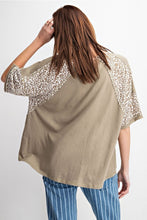 Load image into Gallery viewer, Sage Gray Top with Animal Print Accents by Easel - June Adel