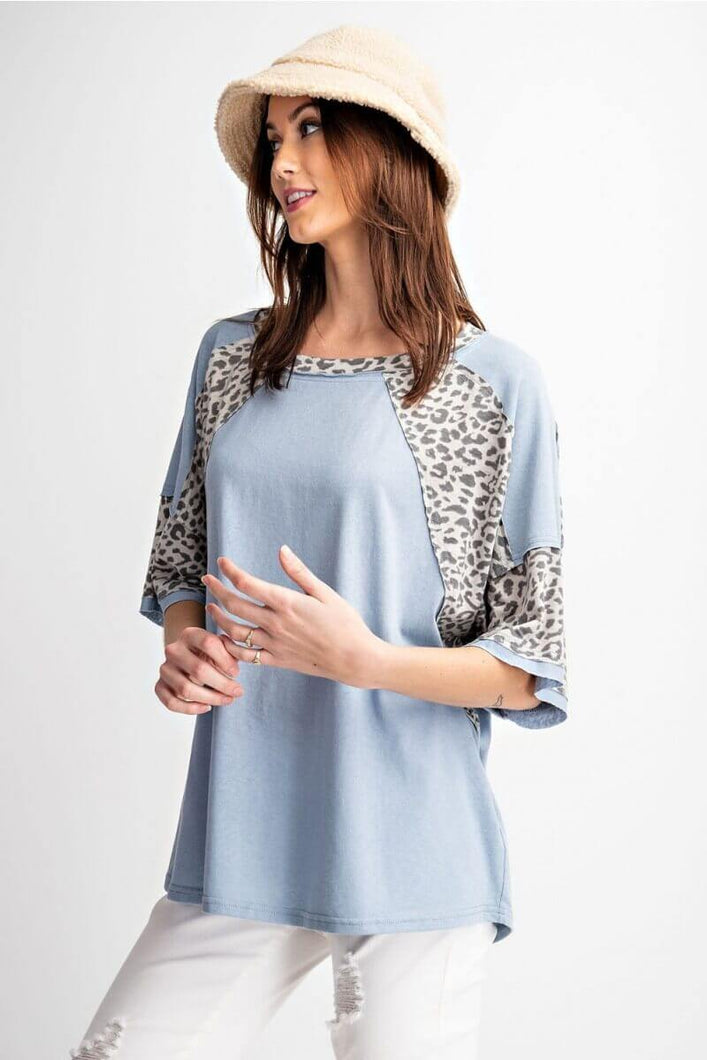 Light Blue Top with Animal Print Accents by Easel - June Adel