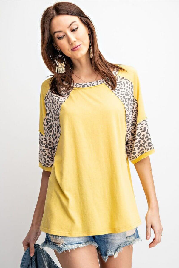 Mustard Top with Animal Print Accents by Easel - June Adel