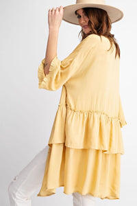 Easel Tiered Ruffle Cardigan in Mustard - June Adel