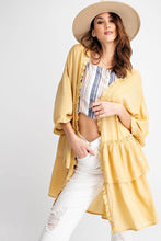 Load image into Gallery viewer, Easel Tiered Ruffle Cardigan in Mustard - June Adel