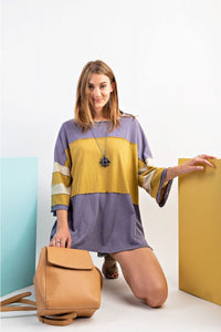 Easel Blue Gray Color Block Top