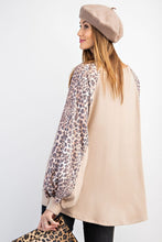 Load image into Gallery viewer, Easel Khaki Top with Leopard Print Sleeves