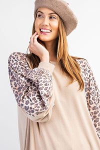 Easel Khaki Top with Leopard Print Sleeves