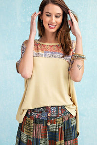 Easel Mustard Top with Printed Contrast - June Adel