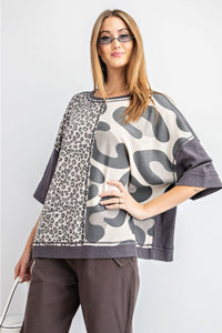 Easel Boxy Leopard Top in Ash