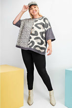 Load image into Gallery viewer, Easel Boxy Leopard Top in Ash
