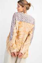 Load image into Gallery viewer, Easel Long Sleeve Tie Dye Top with Animal Print in Camel
