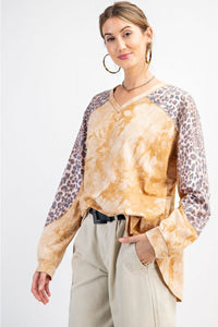 Easel Long Sleeve Tie Dye Top with Animal Print in Camel