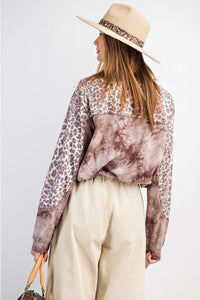 Easel Long Sleeve Tie Dye Top with Animal Print in Red Bean