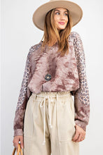 Load image into Gallery viewer, Easel Long Sleeve Tie Dye Top with Animal Print in Red Bean