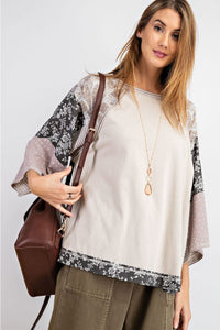 Easel Light Gray Top with Mixed Floral Prints