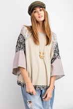 Load image into Gallery viewer, Easel Sage Gray Top with Mixed Floral Prints