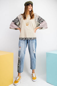 Easel Sage Gray Top with Mixed Floral Prints