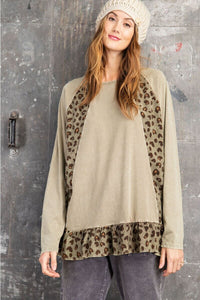 Easel Olive Animal Print Top
