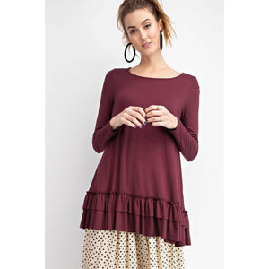 Soft Long Sleeve Ruffled Tunic Top in Deep Plum - June Adel